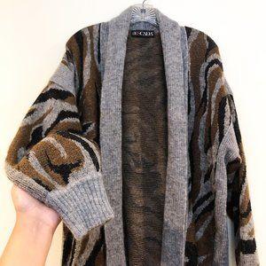 ESCADA RARE Animal Knit Striped Cardigan Sweater